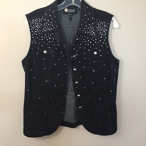 Christine Alexander black vest with crystals Med